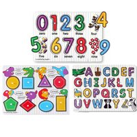 Wholesale Educational Wooden Alphabet Number Geometry Shape Peg Knob Puzzle Board Clutch Plate Baby Kids Toy