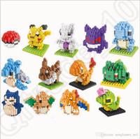 Wholesale Poke Building Blocks Anime Diamond blocks Figures Bricks Toys Gift Mini Cartoon Model With Retail Box designs LJJO1037