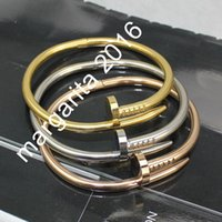Wholesale 2016 Top Quality L Titanium steel nails bracelet lovers bracelet Bangles Size for Women and Men Hot Sale