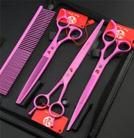 Outil de coupe courbe France-Tyling Outils Ciseaux à cheveux Marque Pet Grooming Scissors Set 7 8 In. Professional Japan 440C Cisailles pour chien Coupe des cheveux + Curved + Scin ...