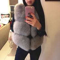 Wholesale 2016 new winter fox fur vest faux fur vest women jacket mink waistcoat outerwear short paragraph Leather grass fur coat gilet