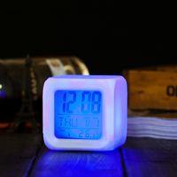 antique crystal radio - Creative fashion mute clock electronic clock clock wise fashion LED seven color snooze alarm