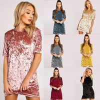 Wholesale Ladies Casual Velvet Short Sleeve Short Dress Womens Fashion Sexy Mini Pullover Dresses Summer Autumn