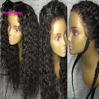 Wholesale glueless heat resistant loose curly natural curly natural black B synthetic lace front wig with baby hair