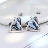 Wholesale Stud earrings female s925 pure silver allergies Korea temperament is no use geometric earrings gift Crystal earrings