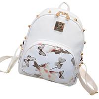 Venta al por mayor- Nuevas mujeres de Arrvival PU cuero Rose Butterfly impresión mochila impermeable Travel School mochila