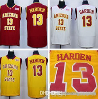 best universities - Arizona State Sun Devils James Harden College Jersey University Yellow Red White Best Quality Stitched For Man