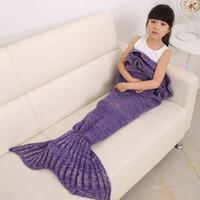 Wholesale 6 Colors Baby Adult Mermaid Tail Blanket Yarn Knitted Handmade Crochet Blankets Kids Throw Bed Wrap Soft Swaddling Sleeping bag