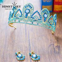 al por mayor pendientes real de la vendimia-Vintage Royal Princesa Tiaras nupciales Coronas Moda Azul / Blanco Cristales Corona Pendientes Headpieces Boda Pelo Accesorio