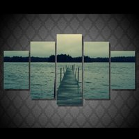 More Panel art dock - 5 Set Framed HD Printed Sunset Dock Picture Wall Art Canvas Room Decor Poster Canvas Abstract Oil Painting