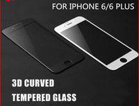 Cubierta completa de la cubierta 3D Cubierta de cristal templada de la fibra del carbón del borde curvado Protecto para iphone7 7 PLUS 6 6plus con el paquete al por menor