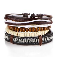 beaded embroidery jewelry - The new wood bead leather cord bracelet Adjustable wax rope weaving embroidery beaded jewelry diy bracelet back word lines the Great Wall