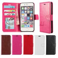 al por mayor wallet case-Caja de la carpeta para la caja de cuero de la cubierta de la caja de la PU de la caja de la galaxia S7 Iphone 7 con el marco de la foto de la ranura para tarjeta para los casos de LG LS 770 Paquete de Opp