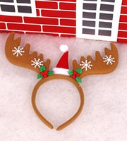 bell band - Christmas Head Band Headdress Christmas Decorations Christmas red antlers Santa Claus rides head buckle With bells antlers Headbands
