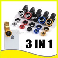 Wholesale Universal Clip in Fish Eye Lens Wide Angle Macro Mobile Phone Camera Glass Lens For iPhone Plus s for Samsung S5 S6 Galaxy S7 edge