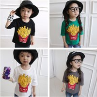 Wholesale Kids clothing chips T shirt Half sleeve Fashion Tee Baby clothes cotton Print years Boy girls clothes black white