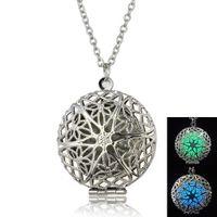 big nacklace - HOT Aromatherapy Locket nacklace hollow out pentagram necklace Classic round big luminous pendant jewlery