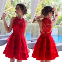 Wholesale 2017 Charming Red Cocktail Dresses Vintage Lace Short Mini Homecoming Gowns Jewel Neck Tiers Organza Knee Length Prom Party pageant Gowns