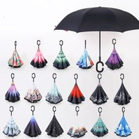 Wholesale 2017 Creative Inverted Umbrellas Double Layer With C Handle Umbrellas Inside Out Reverse Windproof Umbrella colors DHL free ship