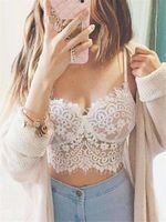 Wholesale S XL Plus Size Women Summer Crop Tank Tops Sexy Ladies Lace Crochet Spaghetti Strap Cropped Bustier Bra Black White Camis