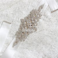 Wholesale Cheap In stock Bridal Sashes Belts Free Size Crystal Shinny Elegant Women Belts Ivory White Ribbon Ready to Ship