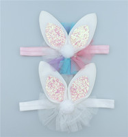 Wholesale C Fashion D Solid Cute Glitter Rabbit Ears Girls Hairbands Kawaii Bunny with Lace Baby Headbands Easter Hair Accessories