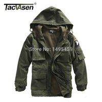 air force hoods - TACVASEN Men Winter Military Jacket US Army AIR FORCE Thermal Trench with Hood Jacket Fleece Lining Military Coat BJQS