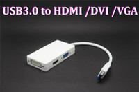 Wholesale 20pcs USB to HDMI DVI VGA Adapter in connect display devices CRT LCD monitor projector to desktop or notebook PC