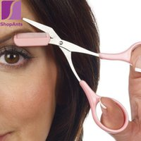 Wholesale Pink Eyebrow Trimmer Scissors With Comb Lady Woman Men Hair Removal Grooming Shaping Shaver eye brow trimmer Eyelash Hair Clips