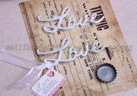 Wholesale Hot Script LOVE Word Love Chrome Steel Bottle Opener Openers Wedding Bridal Shower Favor Silver Gold Color MYY