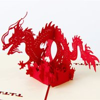 Wholesale Chinese Dragon Paper Model x10cm D Greeting Paper Cards Handmade Paper Cutting Art For Birthday Christmas New Year Party Gift
