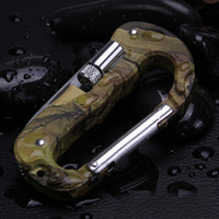 Wholesale Outdoor Multi Tool Carabiner with Folding Pocket Knifes Camouflage Keychain D Shape Survival gadgets With LED Light