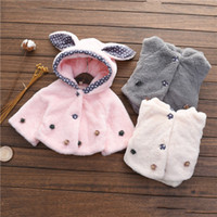 Wholesale 3 Colors New Arrival Girls Fashion Winter Thickening Cute Rabbit Ears Princess Cloak Coat Baby Thicker Warm Coat Childrens Coat