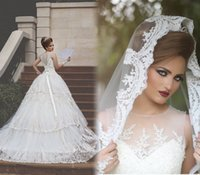 application modelling - Vestido de noiva New Elegant Wedding Dresses O Neck Sleeveless Chapel Train Ball Gown Applications Tulle Bridal Dresses