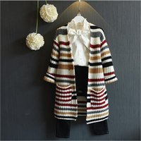 Wholesale 2017 New Spring Autumn Girl Knitted Cardigan Coats Fashion Girls Striped Long Coat Outwear Kids Multicolor Cardigan Shirts cm