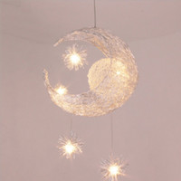 aluminum chandelier - Modern LED Moon Star Children Kid Child Bedroom Pendant Lamp Chandelier Ceiling Light Aluminum Pendant Light with G4 Bulbs