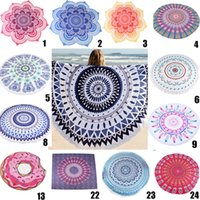 al por mayor patrones de bikini-Toalla de playa redonda Tapices de mandala Algodón 24 Patrones Boho SPA Envolturas Bikini Cover up Beachwear Bañera Throw Mantones Tapices Manteles 5ft