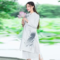art print services - 2016 Hitz China wind fan art tea service stamp hand painted collar cotton dress High waisted dress