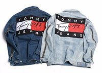 Wholesale street couple denim jacket Hip Hop Male Skateboard Wear Patchwork tommylogo Printed women Men s loose hanging Jackets