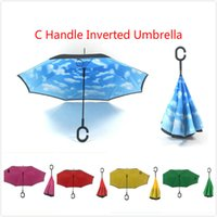 Wholesale Hot Sale Double Layer Reverse Folding Umbrella C Handle Inside Out Reverse Umbrella Sunny and Rainy Windproof Umbrella