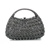 basket purse - grey basket stone bling crystal clutch ladies evening bags purse for girls A G2
