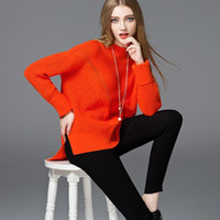 Wholesale MYRAN Italy Milan Pink Solid Loose Preppy Style Knitting Pullover Spring Thick Jumper Sweater Women Autunm Winter