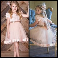 big red cupcakes - 2017 Little Girls Dresses For Wedding Jewel Short Sleeves With Applique Girls Cupcake Dresses With Big Bow Tiered Ruffle Custom Celebrity Go
