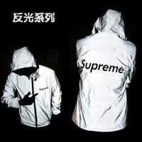 Wholesale male reflective zipper hooded fleece m reflective grey fashion leisure