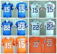 Wholesale 2017 College Florida Gators Football Jerseys NCAA Tim Tebow Jersey E Smith Fashion Team Color Blue White Orange Embroider Logos