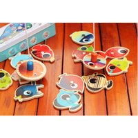 Wholesale Wooden Magnetic Fishing Game Toy Fish Fishing Rods for Baby Kids Children