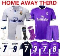 Wholesale 2017 Madrid Soccer Sets James Serigo Ramos Bale Real Madrid Kits Jerseys Kroos Ronaldo Jerseys Kit Uniform With Socks