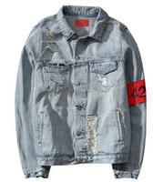Wholesale 424 New Euro America High Street Destroy Washed Distressed Denim Jacket Men Tide Brand Loose Jacket chaqueta hombre kanye west