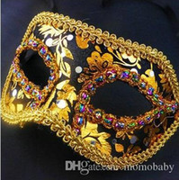 Wholesale 20pc HOT Half Face Halloween Masquerade mask male Venice Italy flathead lace bright cloth masks Halloween Mask Party Mask H41