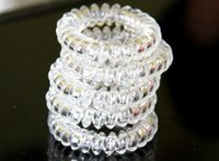 Wholesale 5 Cm Telephone Line Cord Bobble Traceless Rubber Bands Tie White Clear Gum Elastic Hair Bands Girl s Hair Scrunchy